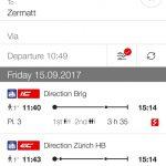 スイス連邦鉄道SBBのアプリが無茶苦茶便利でした。