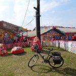 レンタサイクルで台湾自転車旅行、台中から嘉義で彩虹眷村に立ち寄った