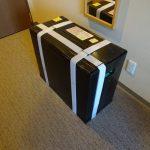 最終形完成、3辺合計158cm、ミニベロバイクフライディーをスーツケースのように運べる輪行箱の作成その1