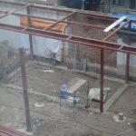 中国の建築現場、鉄骨の骨組みを観察しました。(西安のホテル隣にて)